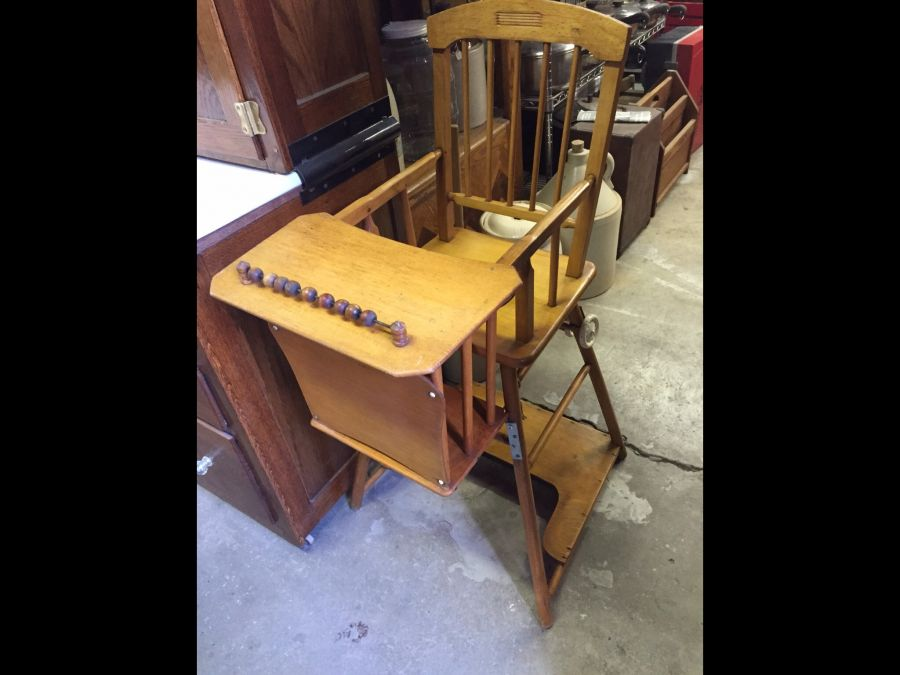 vintage wood high chair x rocker wireless gaming wooden the packrats den antique